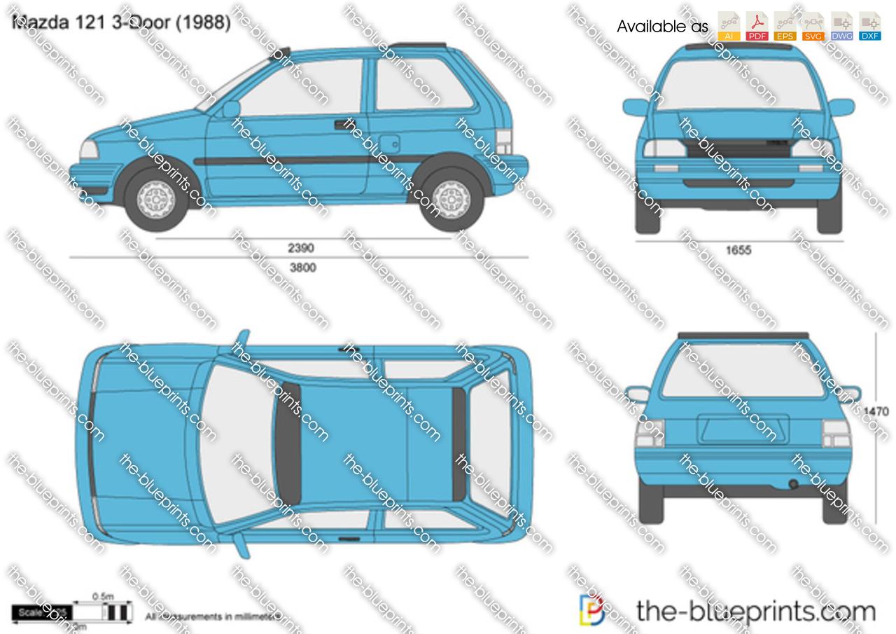 Mazda 121 3 Door Vector Drawing