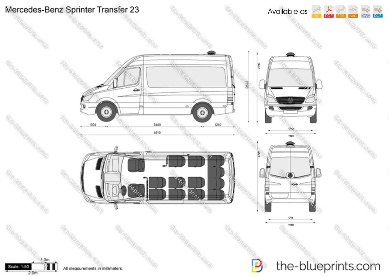 Mercedes Benz Sprinter Transfer 23 Vector Drawing