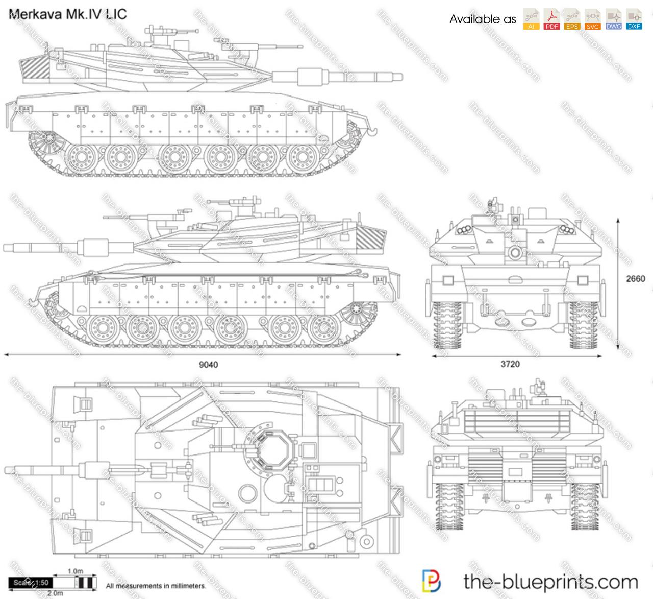 Merkava Mk Iv Lic Vector Drawing