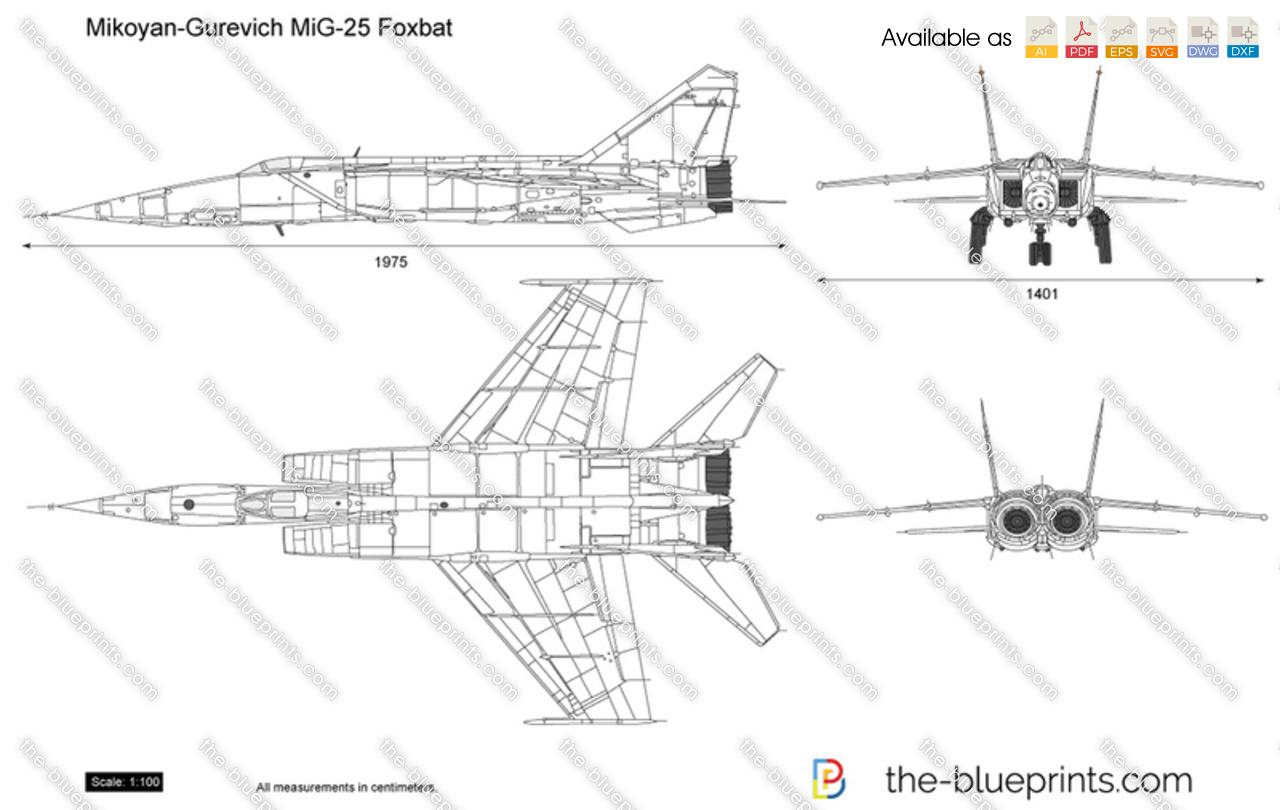 Mikoyan Gurevich Mig 25 Foxbat Vector Drawing