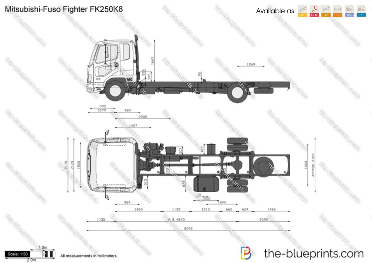 Mitsubishi Fuso Fighter Fk250k8 Vector Drawing