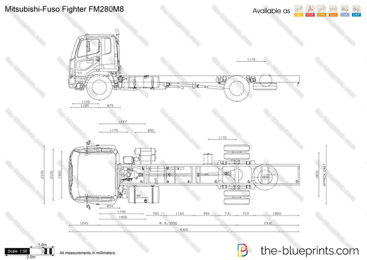 Mitsubishi Fuso Fighter Fm280m8 Vector Drawing