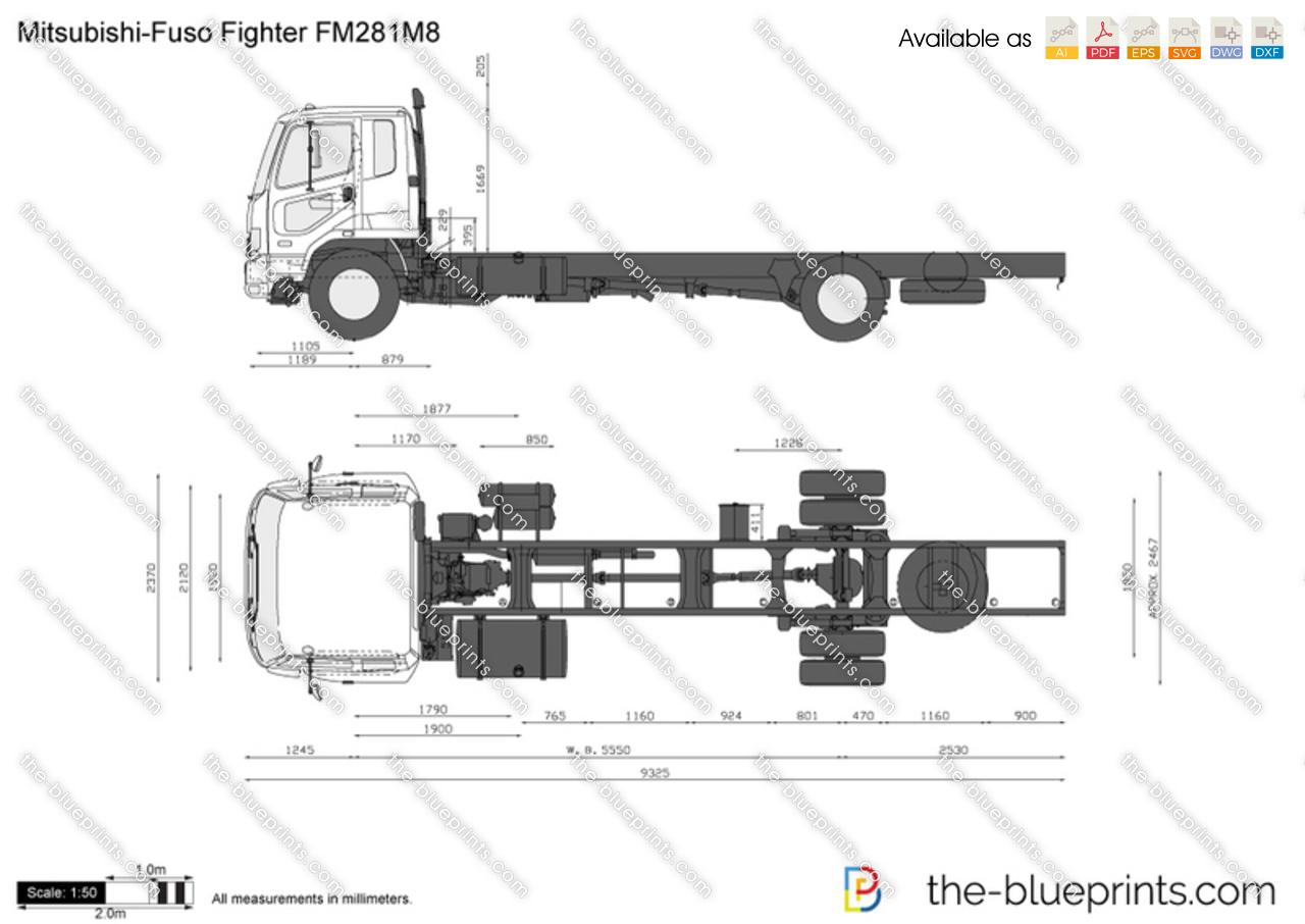 Mitsubishi Fuso Fighter Fm281m8 Vector Drawing