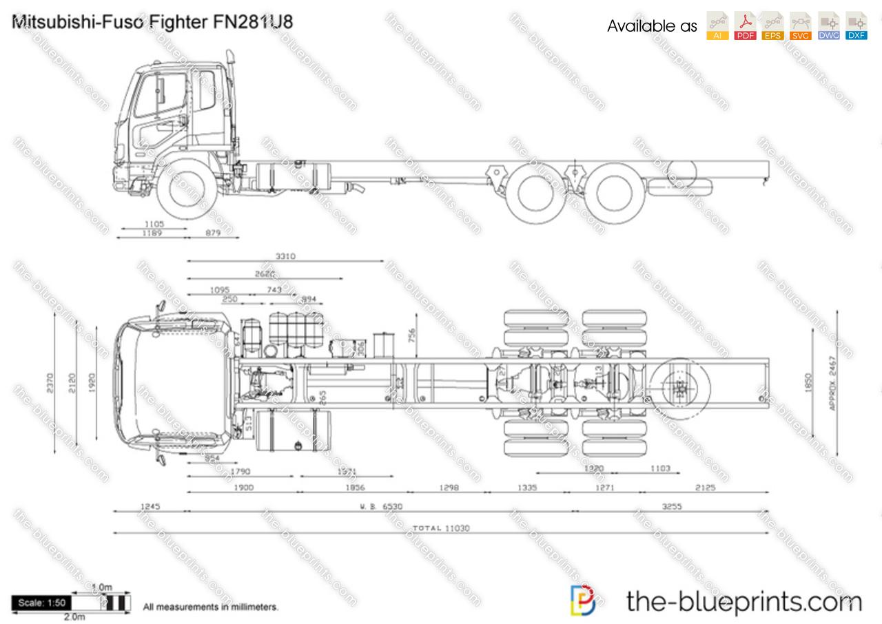 Mitsubishi Fuso Fighter Fn281u8 Vector Drawing
