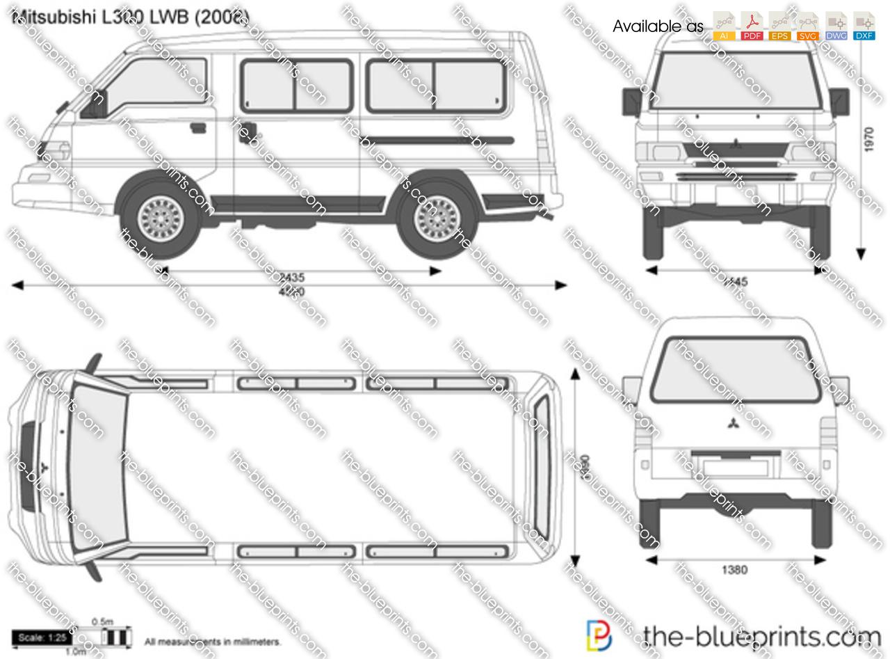 Mitsubishi L300 Lwb Vector Drawing