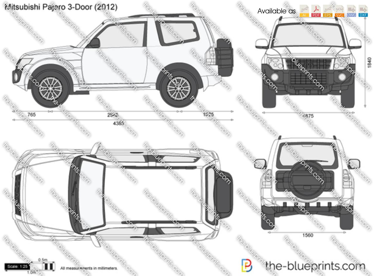 Mitsubishi Pajero 3 Door Vector Drawing