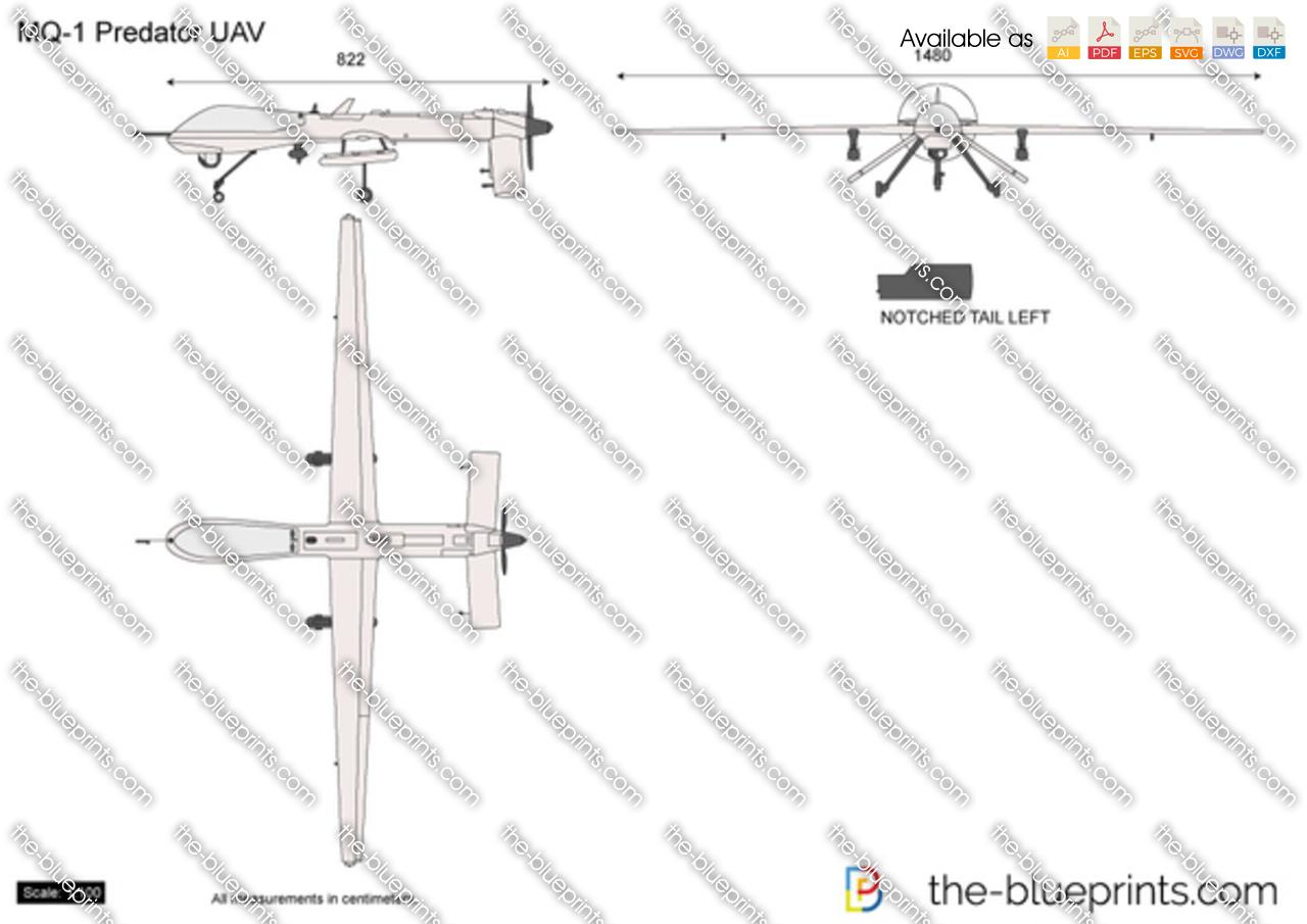 Mq 1 Predator Uav Vector Drawing