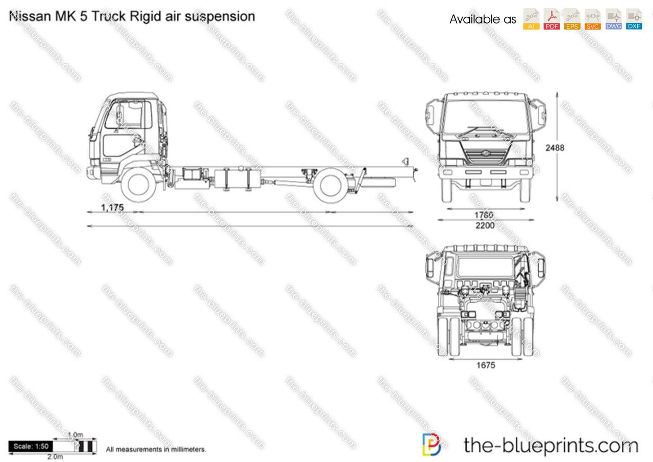 Nissan Mk 5 Truck Rigid Air Suspension Vector Drawing