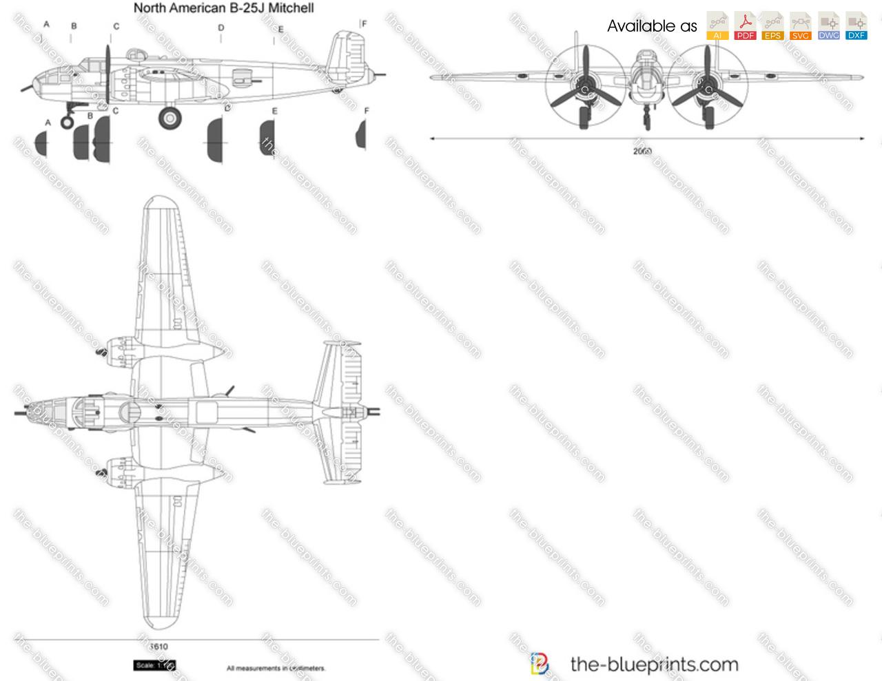 North American B 25j Mitchell Vector Drawing