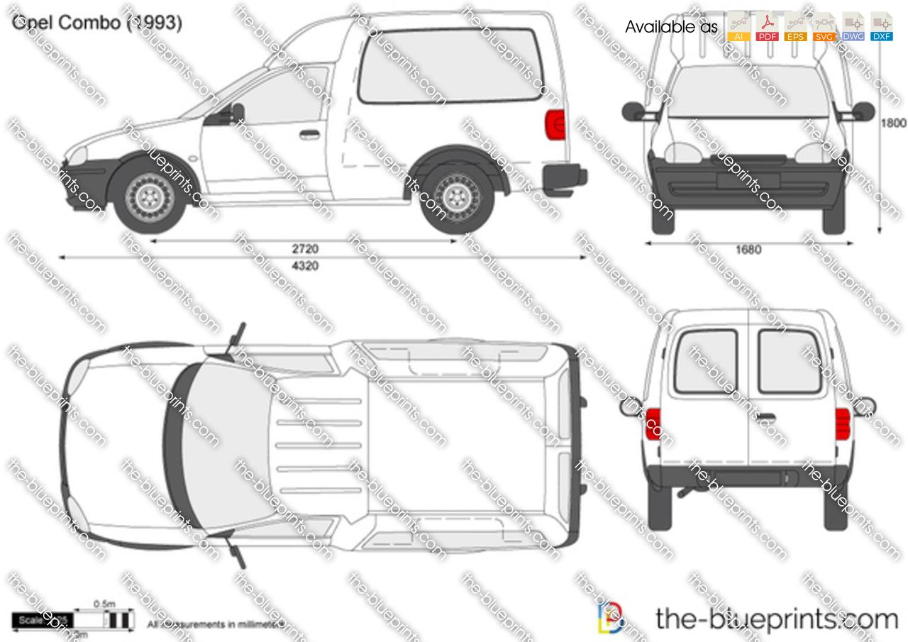 Opel Combo B Vector Drawing