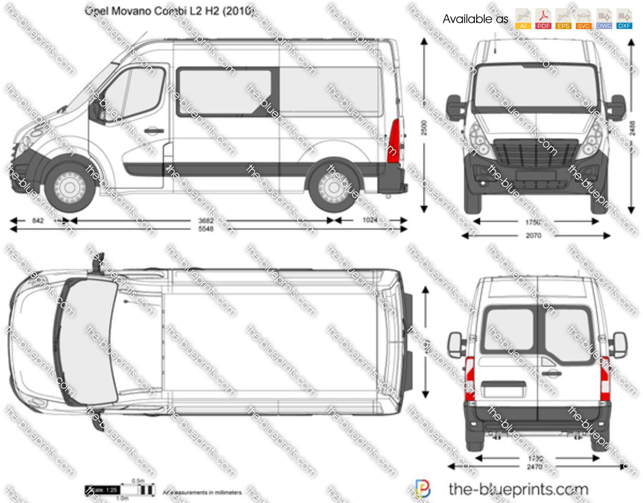 Opel Movano Combi L2 H2 Vector Drawing