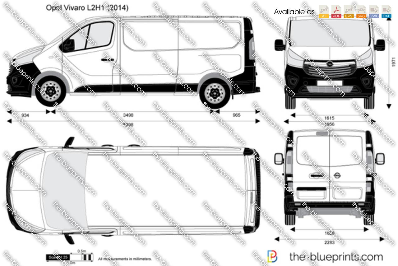 Opel Vivaro L2h1 Vector Drawing