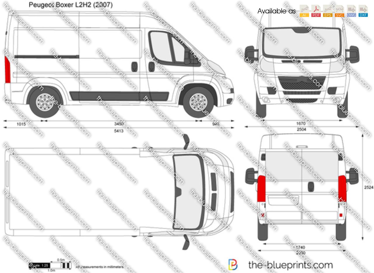 Peugeot Boxer L2h2 Vector Drawing