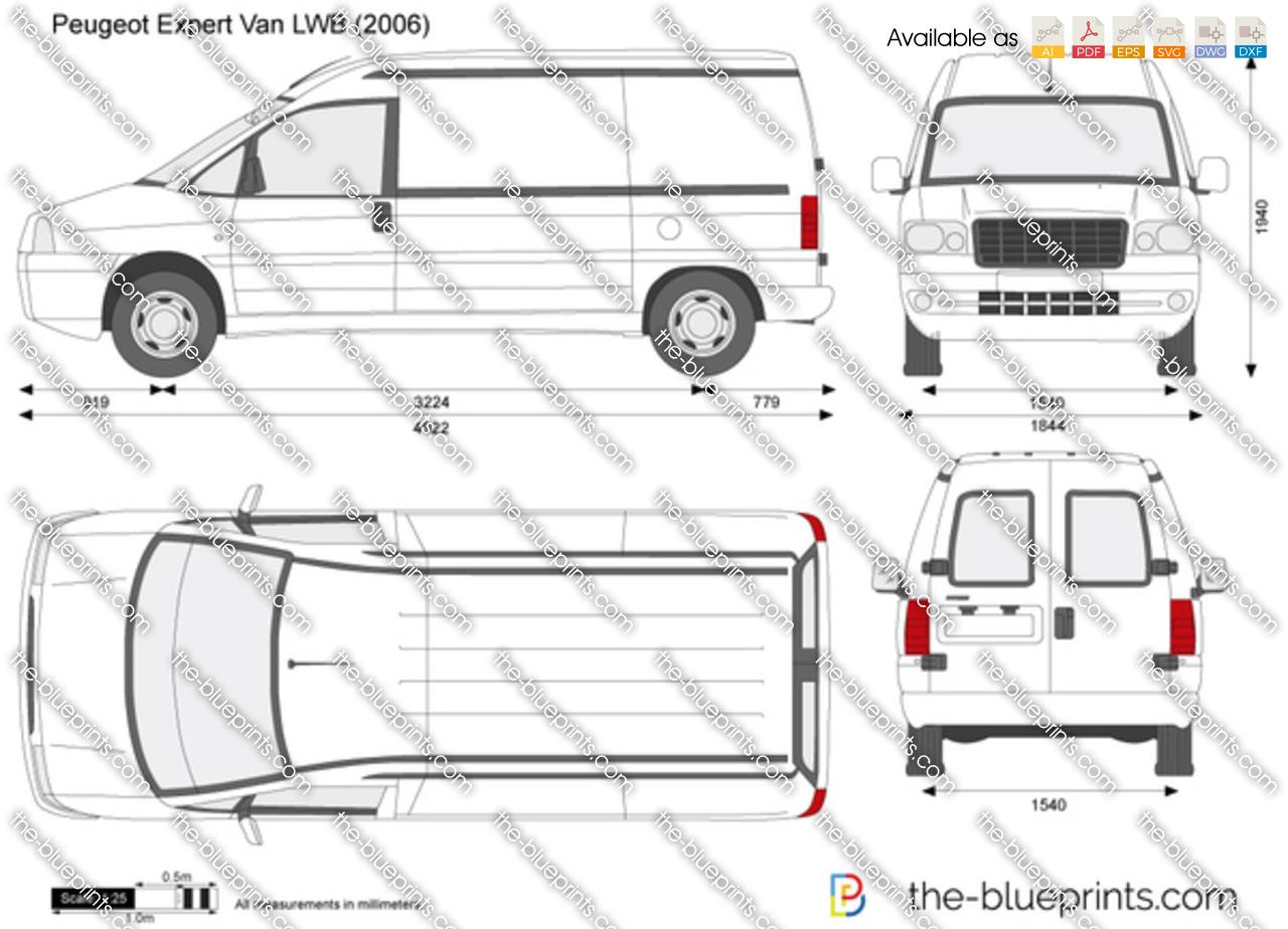 Peugeot Expert Van Lwb Vector Drawing