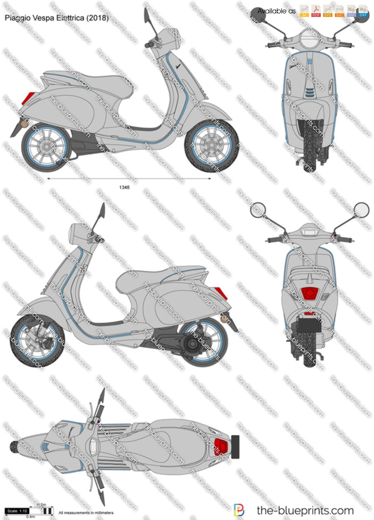 Piaggio Vespa Elettrica Vector Drawing