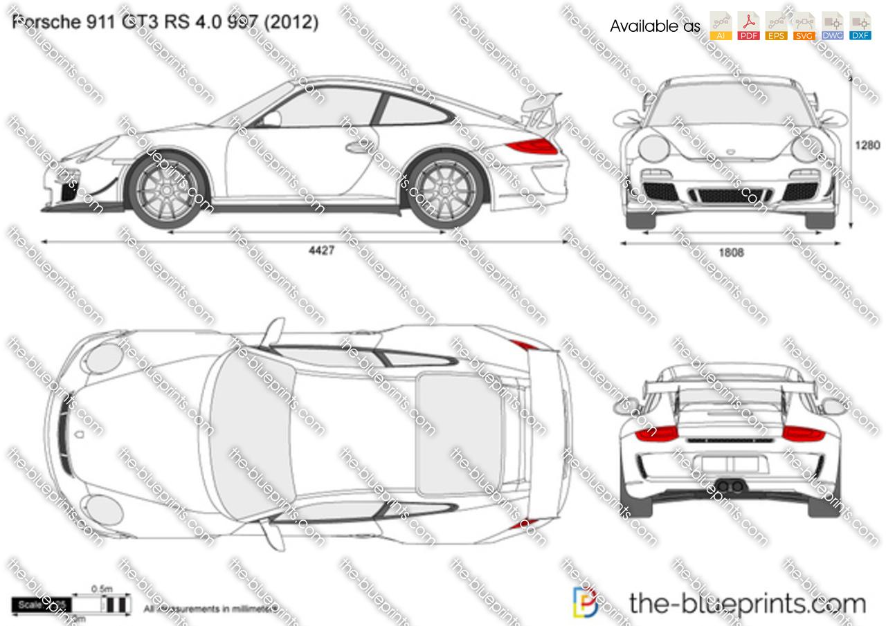 Porsche 911 Gt3 Rs 4 0 997 Vector Drawing