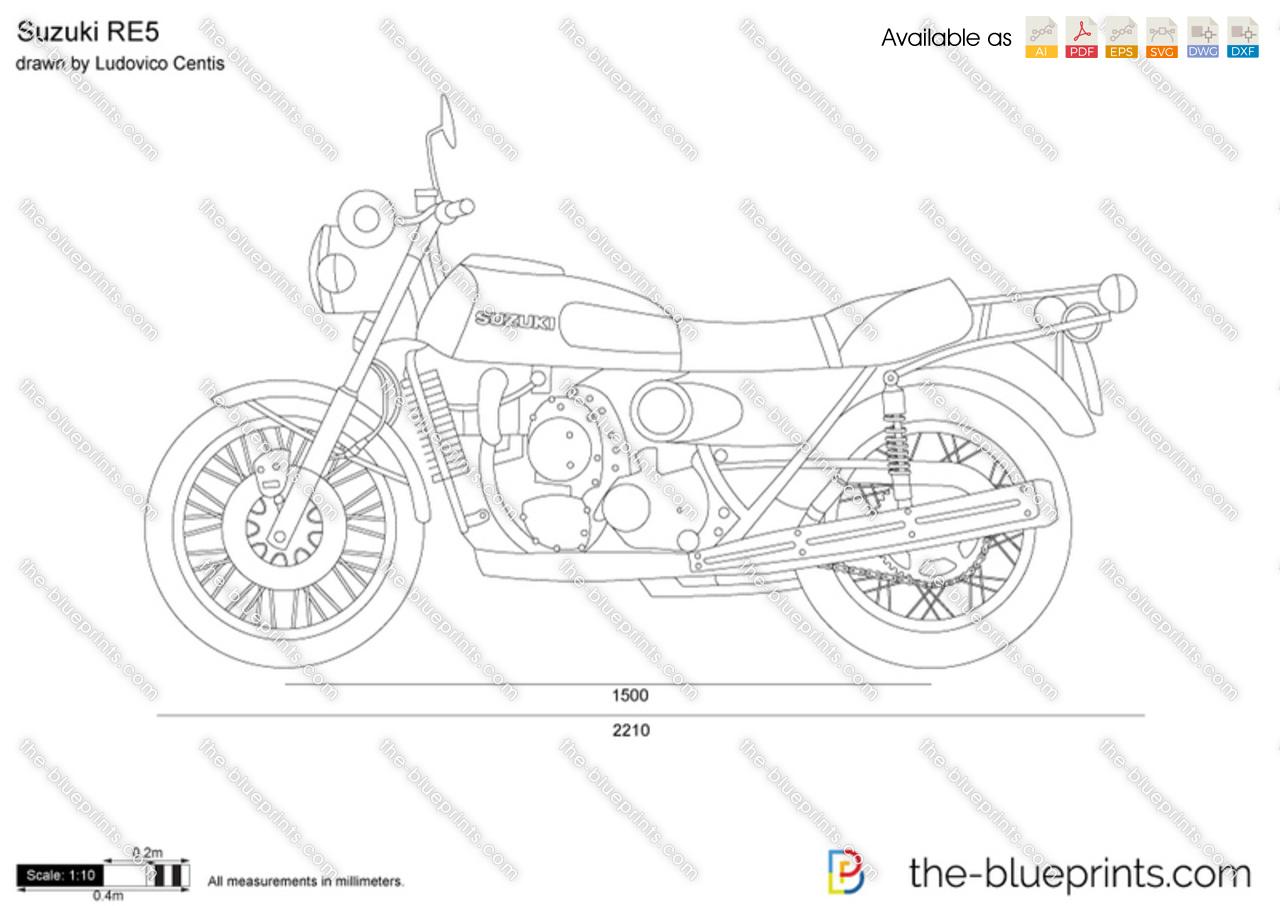Suzuki Re5 Vector Drawing