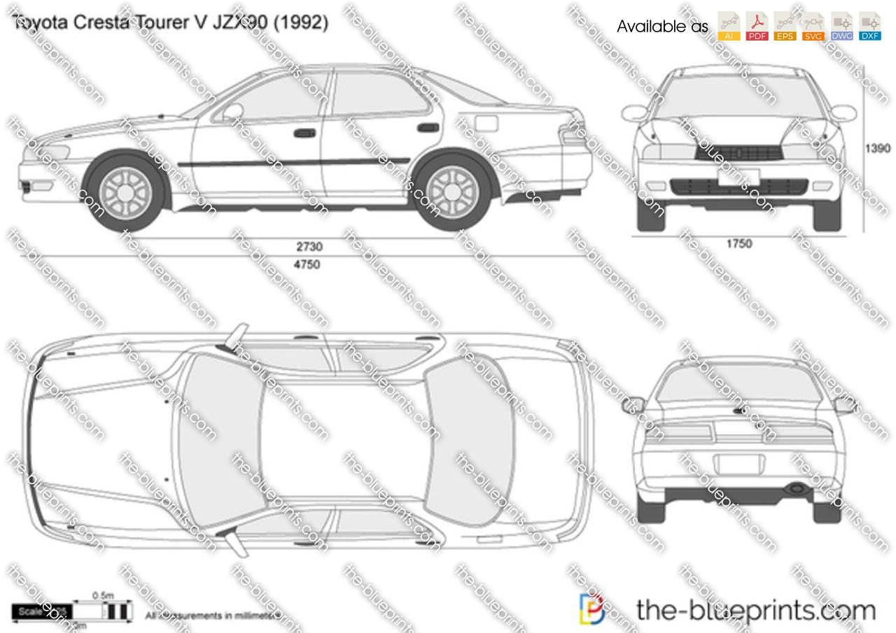 Toyota Cresta Tourer V Jzx90 Vector Drawing