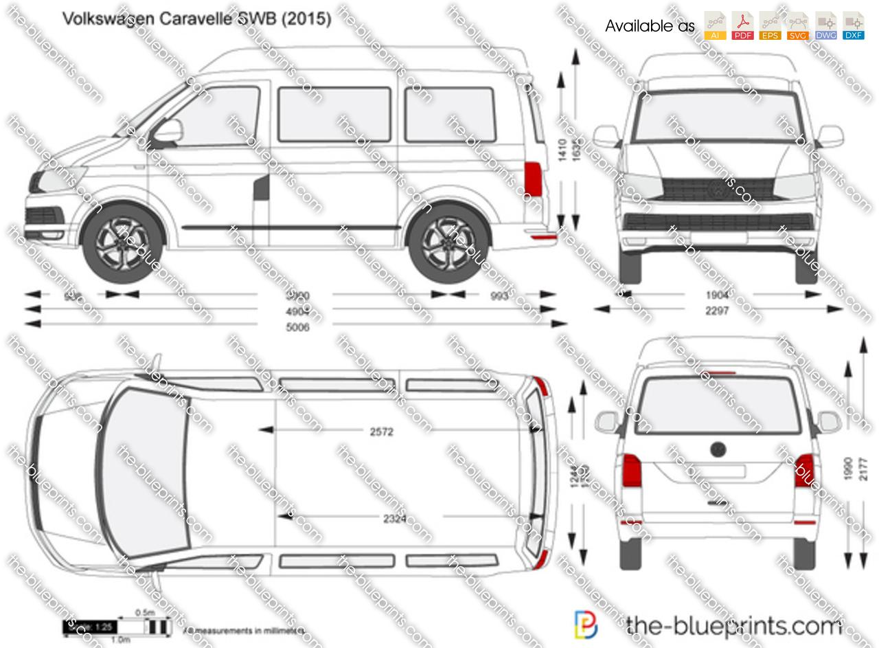 Volkswagen Caravelle Swb Vector Drawing