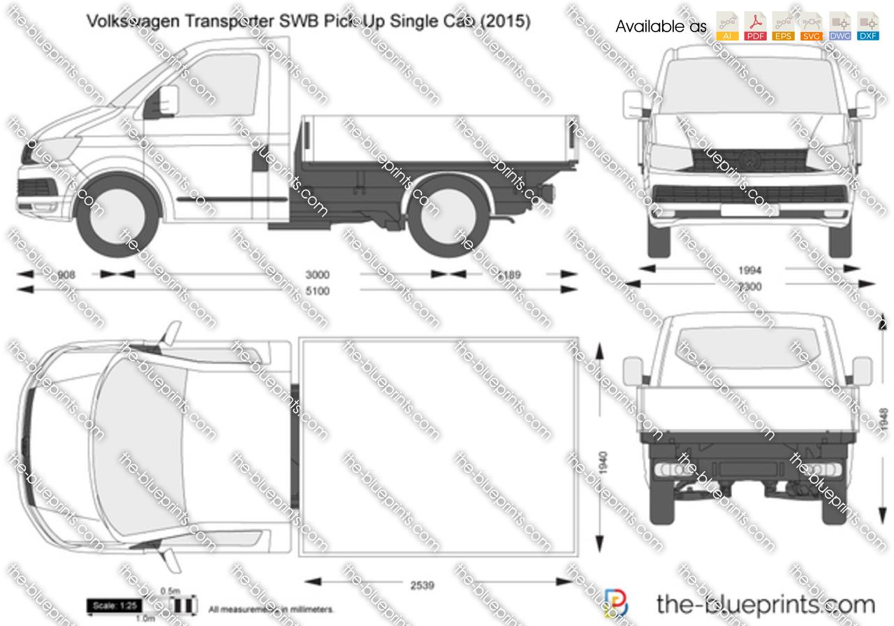Volkswagen Transporter T6 Swb Pick Up Single Cab Vector Drawing