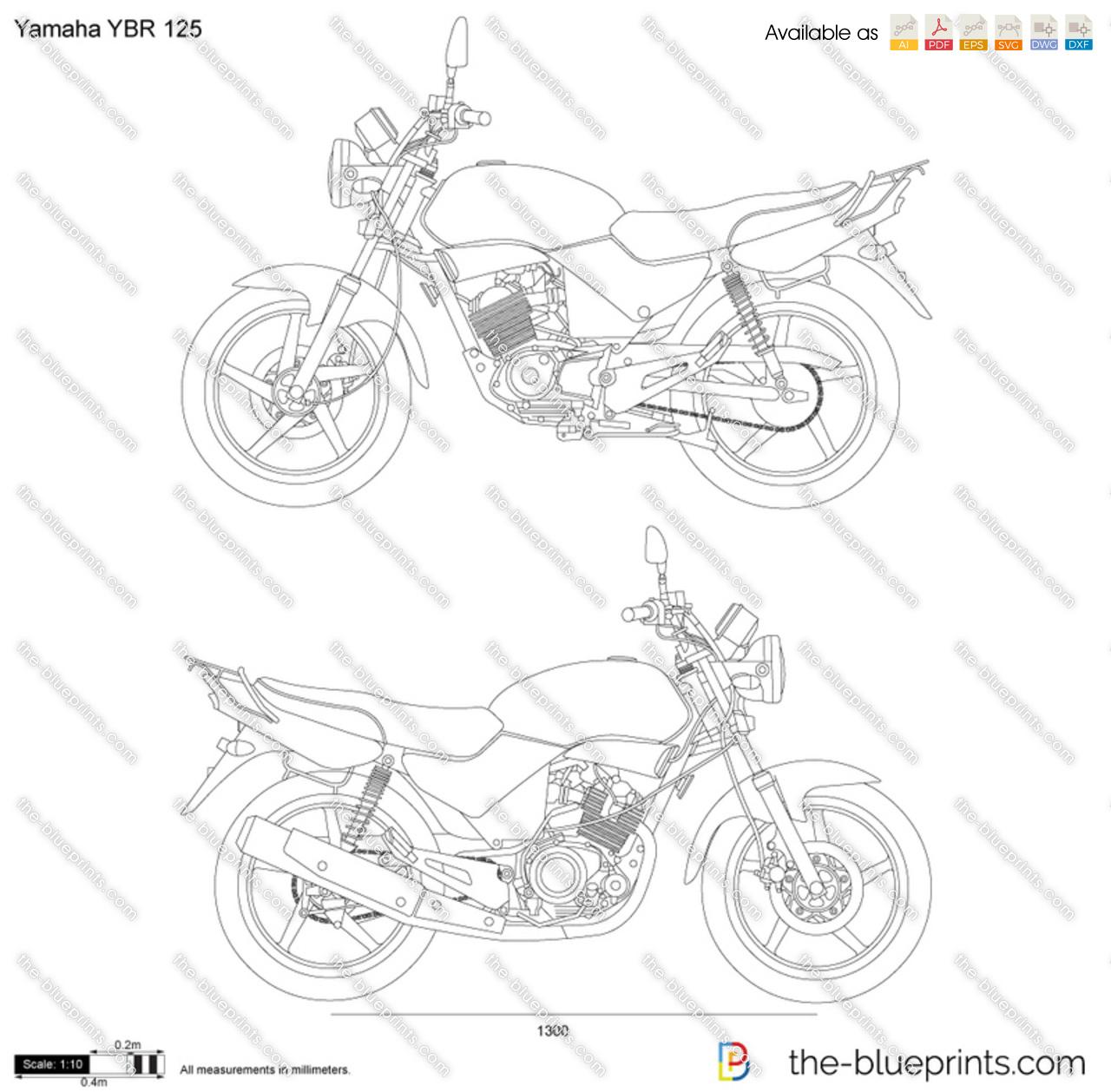 Yamaha Ybr 125 Vector Drawing