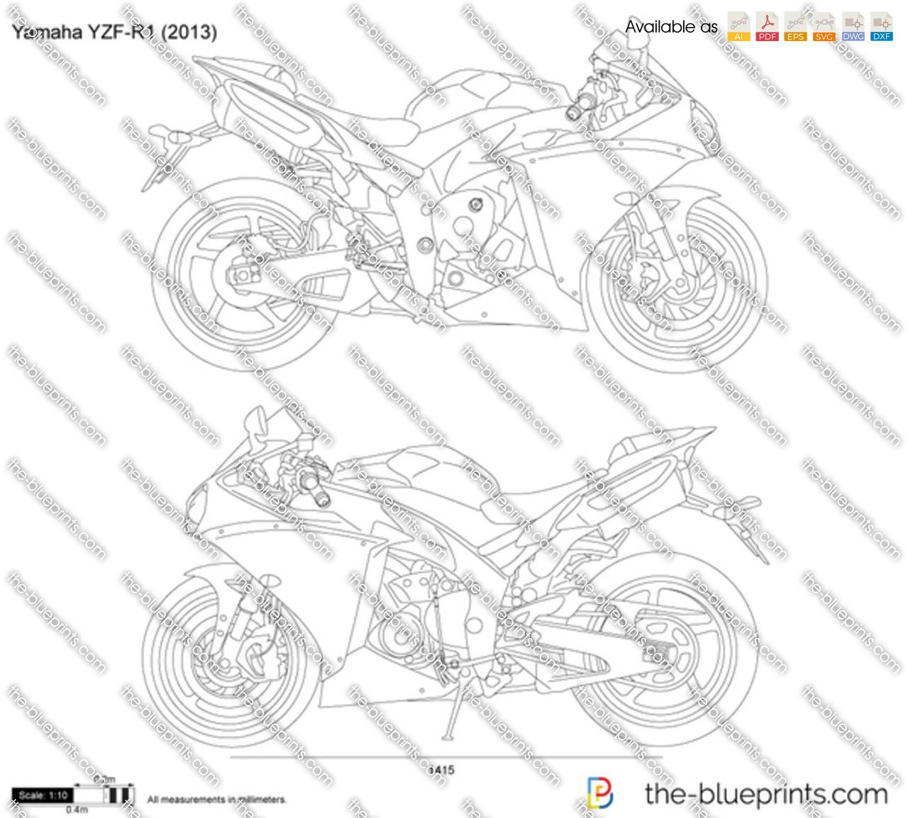 Yamaha Yzf R1 Vector Drawing