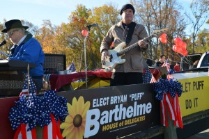 St. Mary's Commissioner Larry Jarboe was the first to jump on the Barthelme campaign bandwagon, playing on the Veterans Day float. Jarboe is now running for the Maryland State Senate.