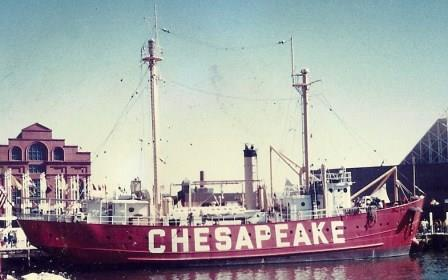 "Coast Guard lightship ""Chesapeake"" formerly located at entrance to Chesapeake Bay now on display in Baltimore, Md. THE CHESAPEAKE TODAY photo"