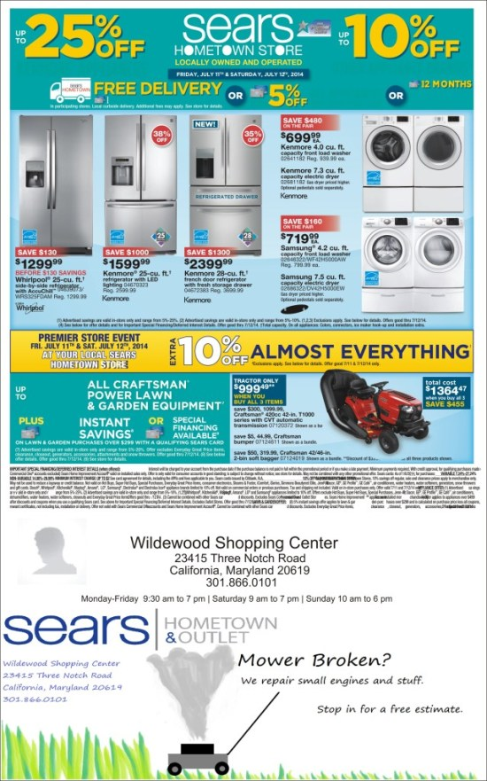 Sears Hometown Store Sale July 11 & 12 Wildewood Center, Rt. 235, California, Md.