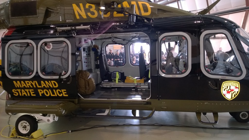 Maryland State Police helicopter Trooper Seven now in service and based at St. Mary's Airport, serving Southern Maryland region. THE CHESAPEAKE TODAY photo
