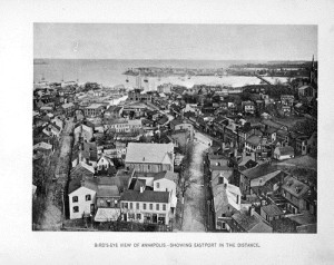 Birds-eye view of Annapolis, Md., from dome of State House.