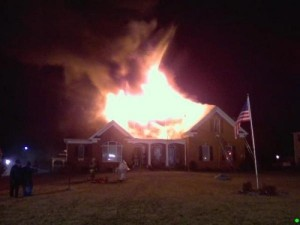 This home fire with a sprinkler system didn't work out as well as other fires which were controlled by sprinkler systems. Photo by Bryans Road VFD.