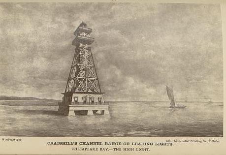 Craighill's channel range or leading lights, Chesapeake Bay--The high light 1873