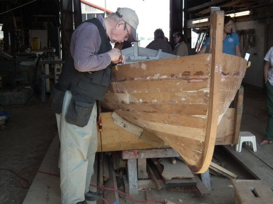 This lobster boat in the New England style is being hand-built with love by dedicated volunteers at the museum. Boat restorations are undertaken as well, with boats donated each year included in an annual auction which raises money for the museum.  A visit here can be a highlight of your summer.  THE CHESAPEAKE TODAY photo.