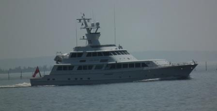 The Lady Sandals arrives in Breton Bay after a trip down the Potomac from Alexandria. THE CHESAPEAKE TODAY photo
