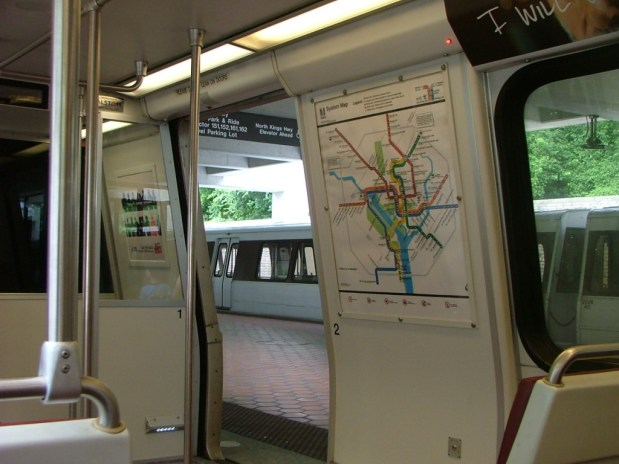 A Washington Metro train in a station. THE CHESAPEAKE TODAY photo