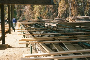 Charlotte Hall Lumber Company sawmill in operation.  THE CHESAPEAKE TODAY photo