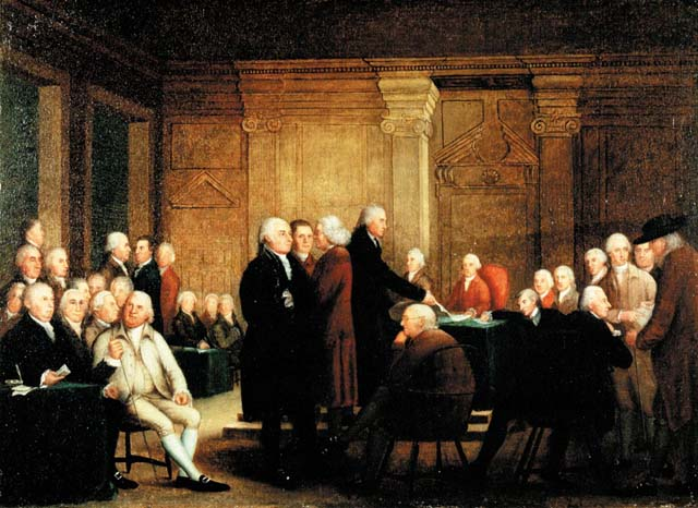 The Congress voting on approving the Declaration of Independence.
