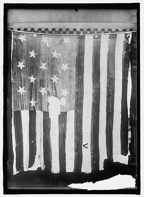 The United State flag that flew over Fort McHenry and inspired the words of the national anthem written by Francis Scott Key.