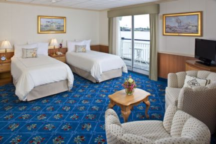 A stateroom on the Queen of the Mississippi.