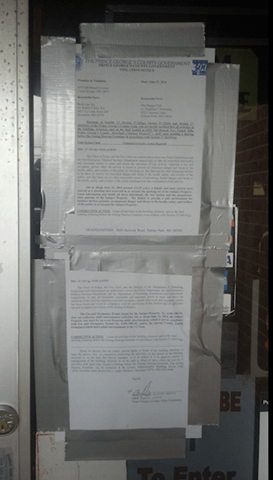 Prince Georges County, Md. Police posted this order on the door of the Hangar Club, a venue of male stripper who entertained thousands of women over the last forty years.