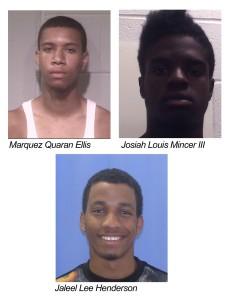 Ocean City bus driver robbery suspects Marquez Quaran Ellis, Josiah Louis Mincer III and Jaleel Lee Henderson