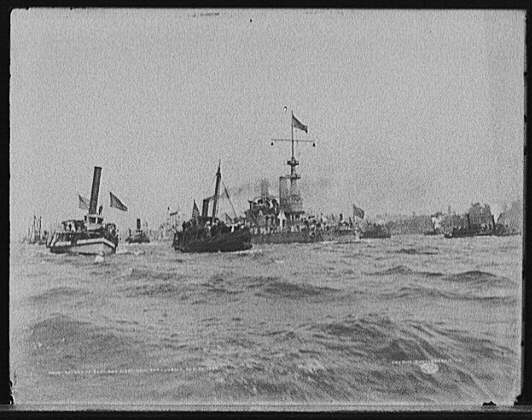 Return of the Santiago fleet to New York Harbor Aug. 20 1898