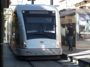 light rail at Seville, Spain