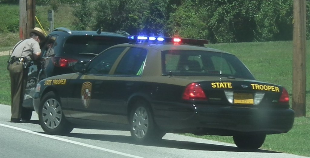 Maryland State Trooper on traffic stop. THE CHESAPEAKE TODAY photo