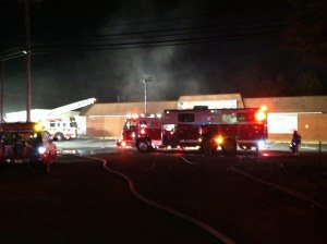Arson fire in Waldorf next to Freds of Halloween Spirit store photo by Baden VFD