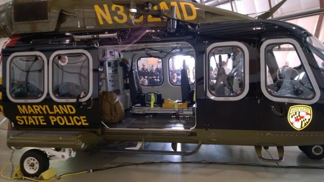 MSP Trooper Seven helicopter, one of the new fleet of medevac and police choppers. THE CHESAPEAKE TODAY photo