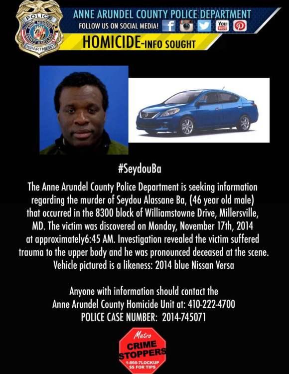 Seydou Alassane Ba murder Balt Co PD Millersville 111714