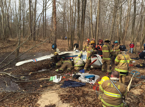 Plane crash at Fort Meade. Two flown to shock trauma unit.  Anne Arundel Fire photo