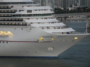 Carnival Liberty close up on docking in Miami. THE CHESAPEAKE TODAY photo